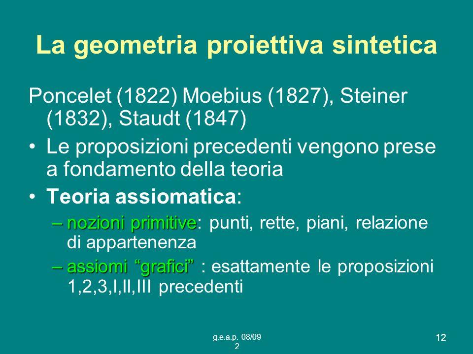 La geometria proiettiva sintetica