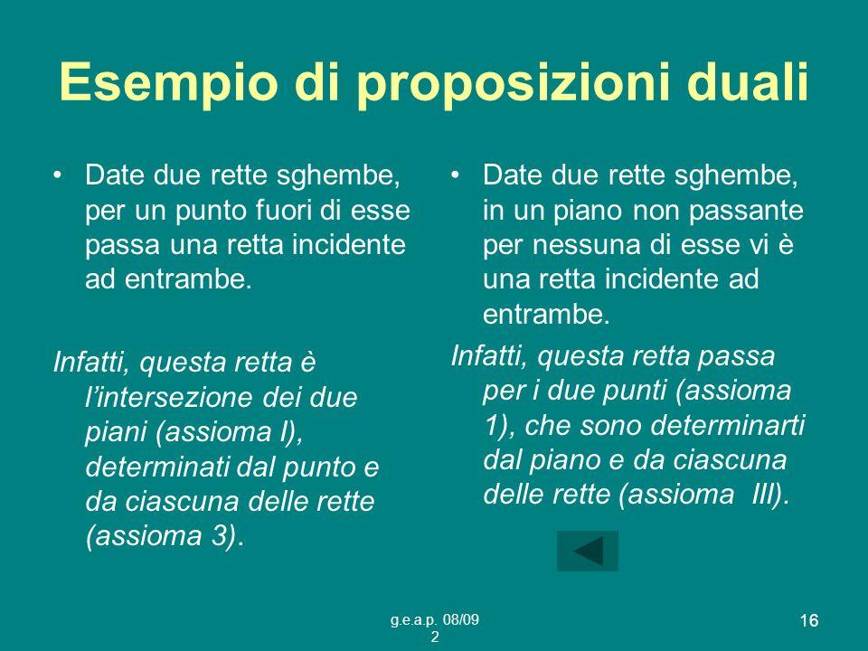 Esempio di proposizioni duali