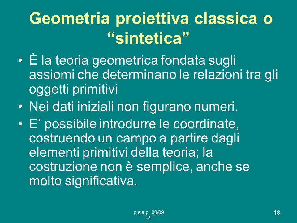 Geometria proiettiva classica o sintetica