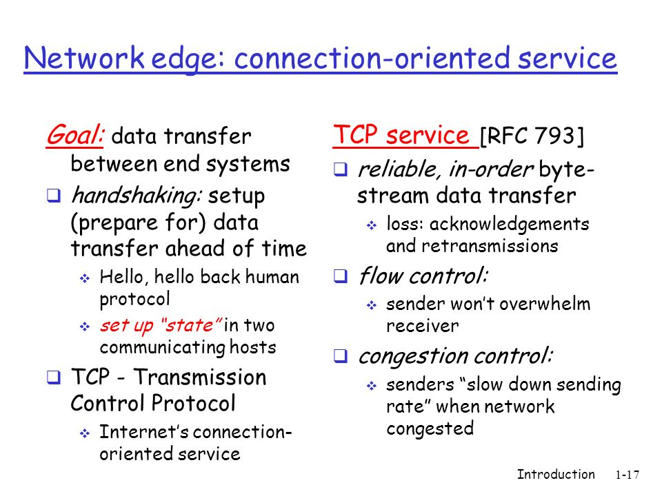 Network edge: connection-oriented service