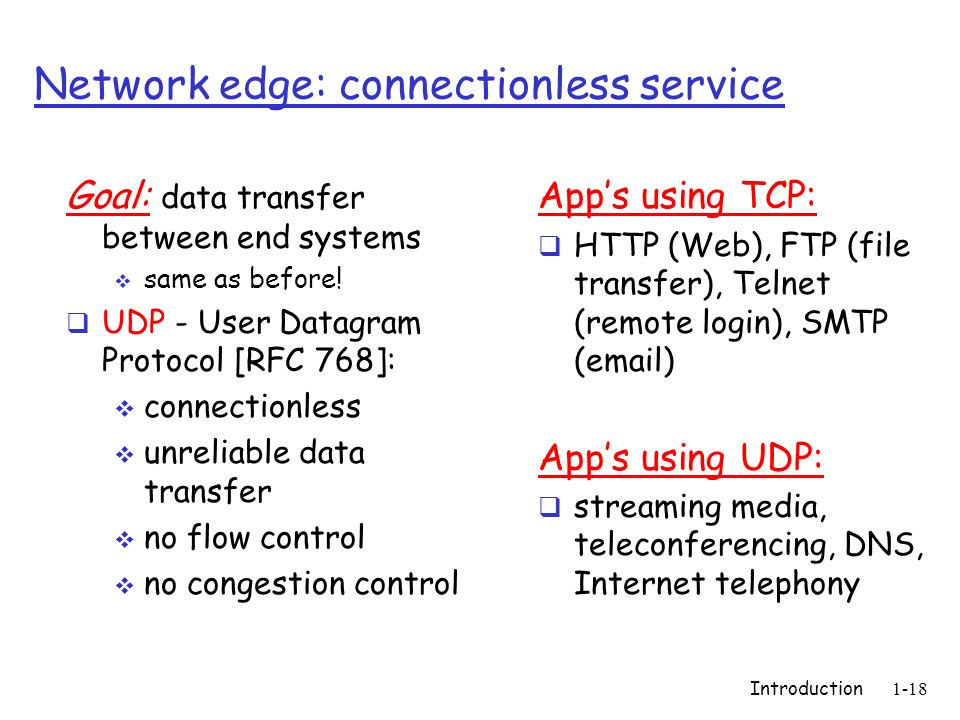 Network edge: connectionless service