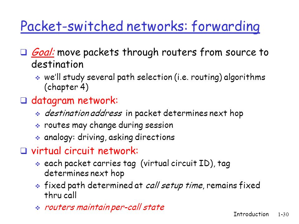 Packet-switched networks: forwarding
