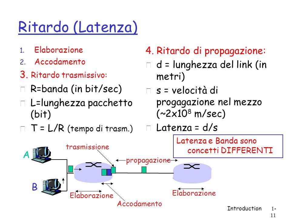 Ritardo (Latenza) 4. Ritardo di propagazione:
