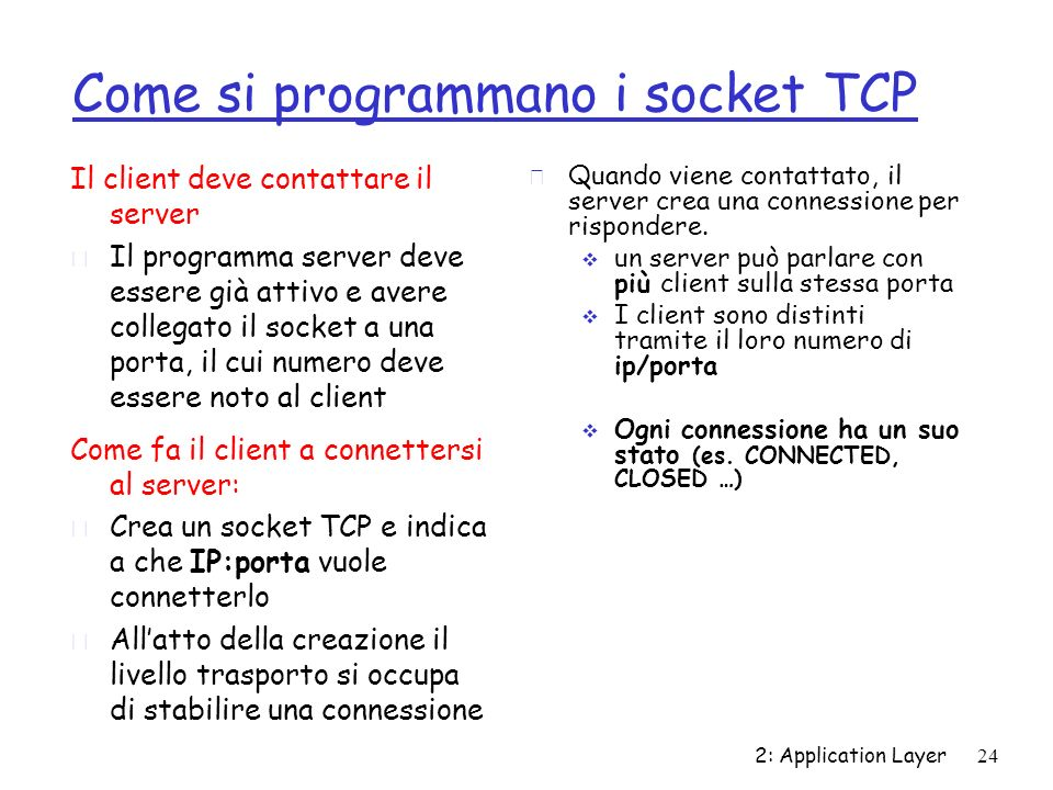 Come si programmano i socket TCP