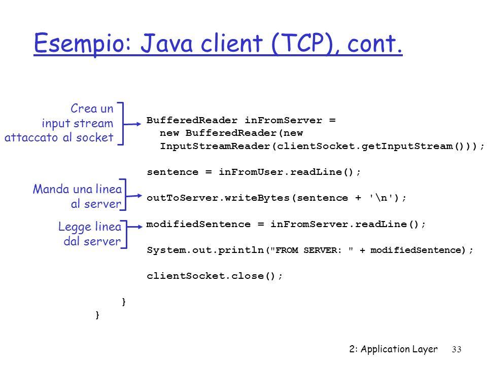 Esempio: Java client (TCP), cont.