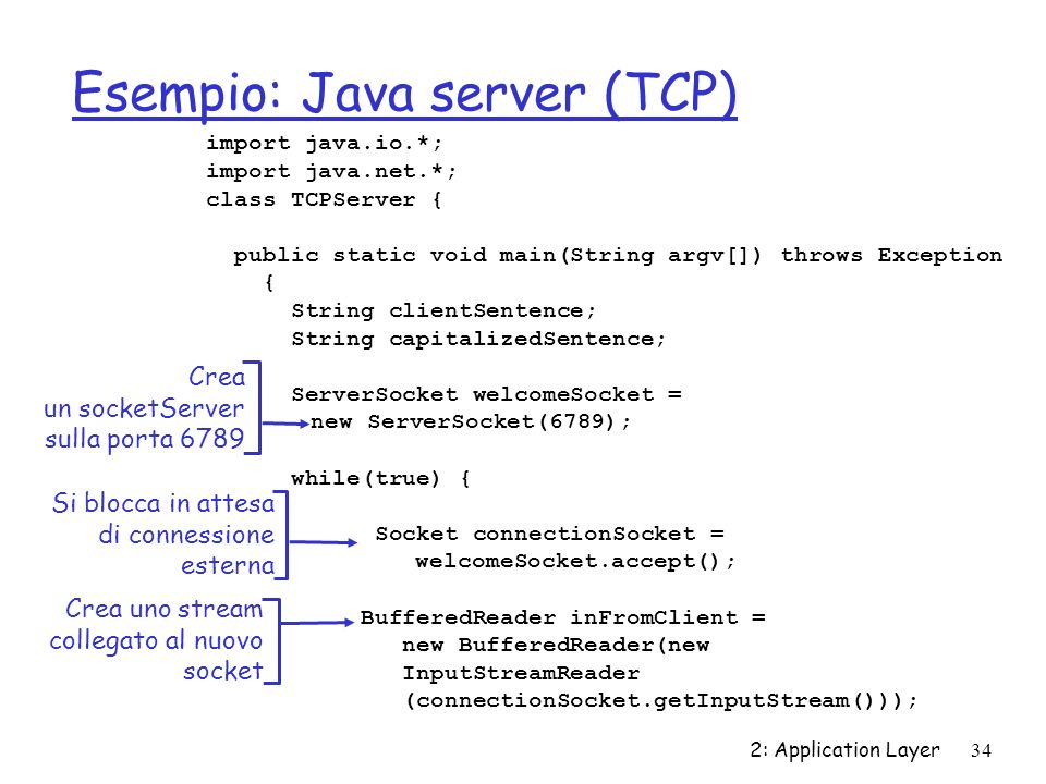 Esempio: Java server (TCP)