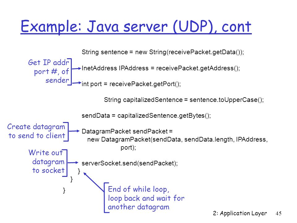 Example: Java server (UDP), cont