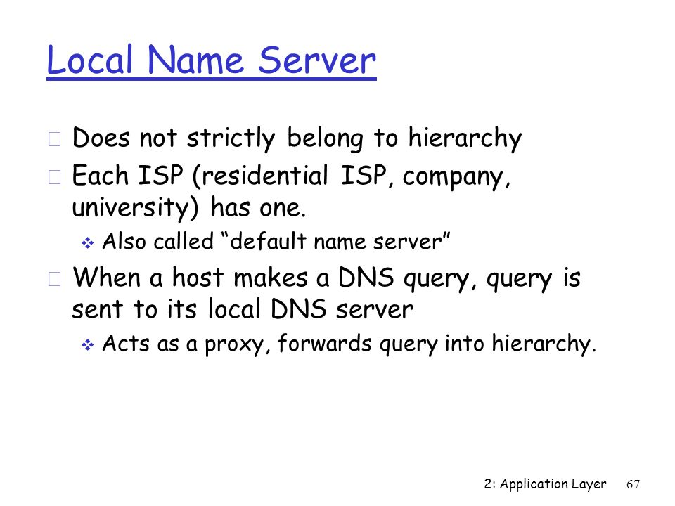 Local Name Server Does not strictly belong to hierarchy