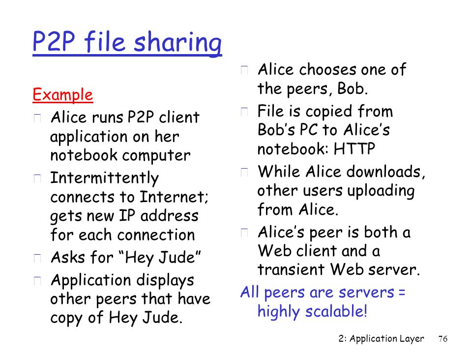 P2P file sharing Alice chooses one of the peers, Bob.