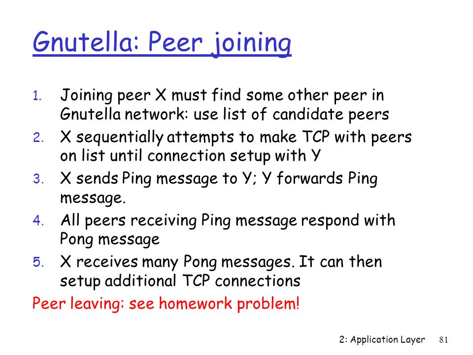 Gnutella: Peer joining
