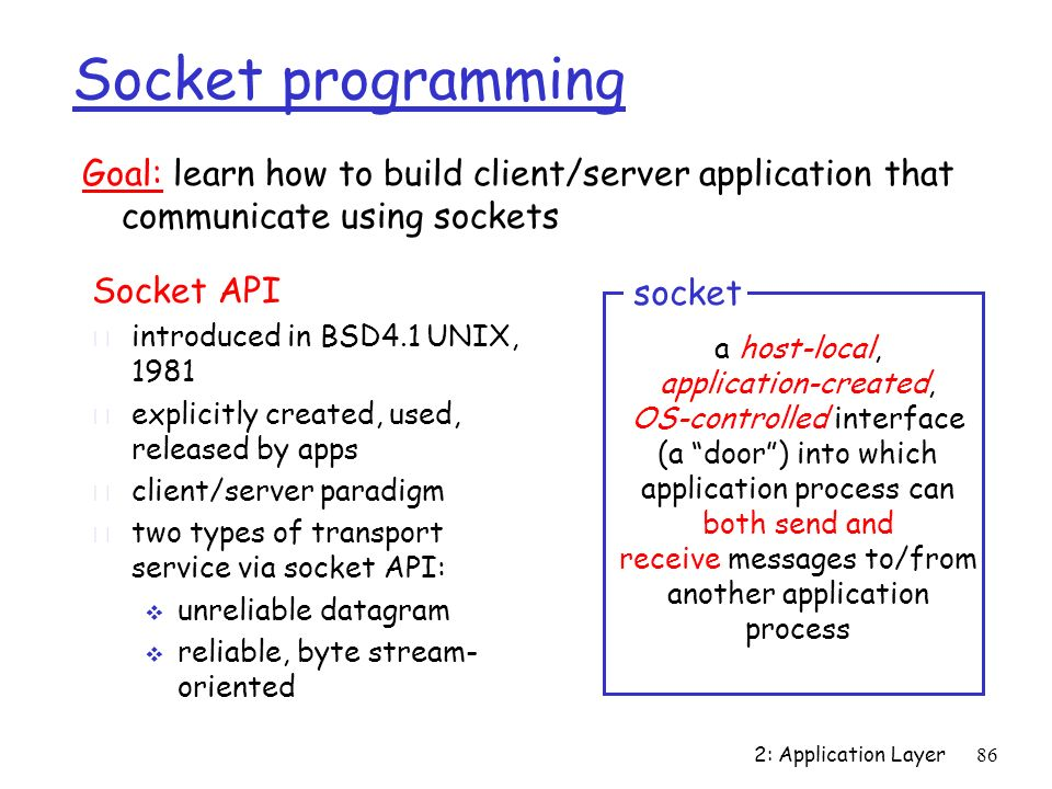 Socket programmingGoal: learn how to build client/server application that communicate using sockets.