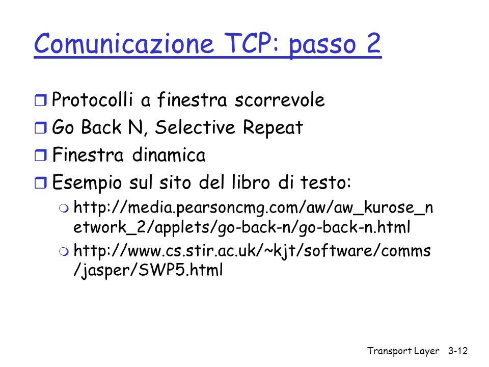 Comunicazione TCP: passo 2
