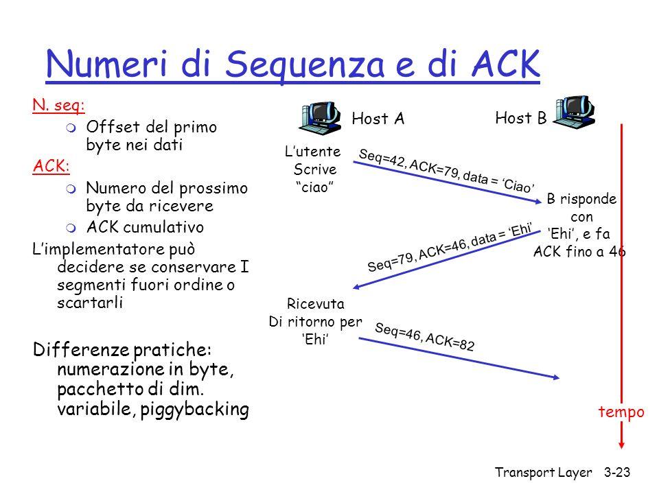 Numeri di Sequenza e di ACK