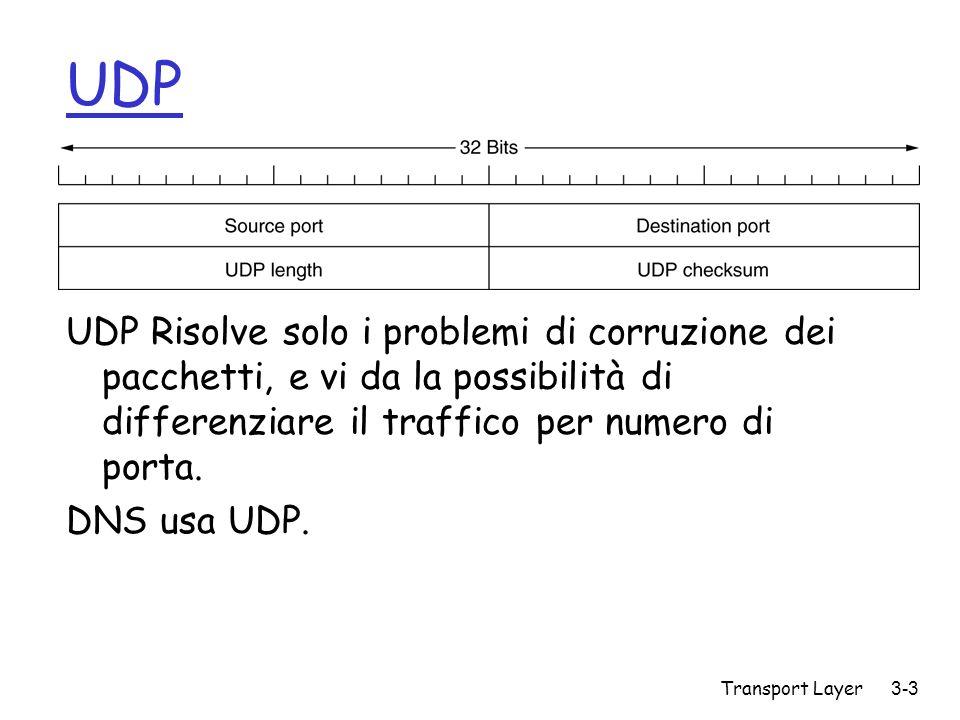 UDP UDP Risolve solo i problemi di corruzione dei pacchetti, e vi da la possibilità di differenziare il traffico per numero di porta.