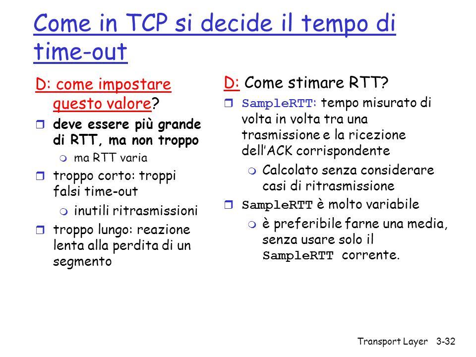 Come in TCP si decide il tempo di time-out