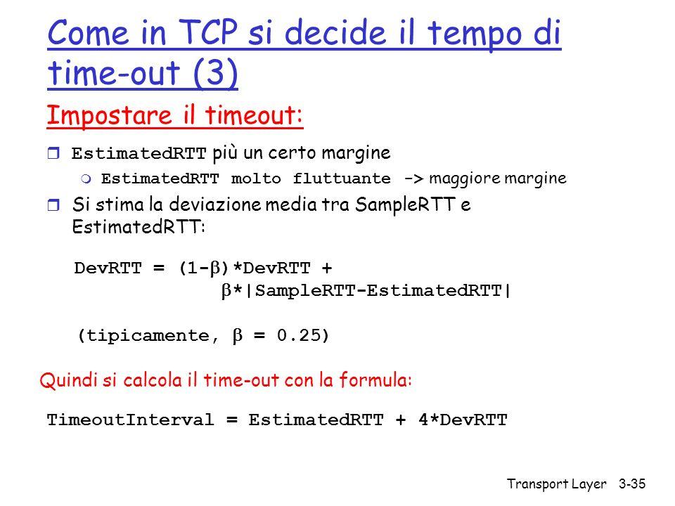 Come in TCP si decide il tempo di time-out (3)