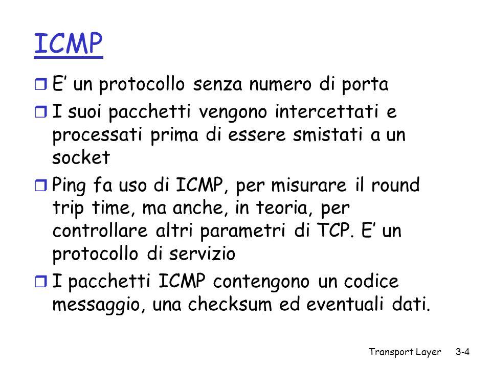 ICMP E' un protocollo senza numero di porta