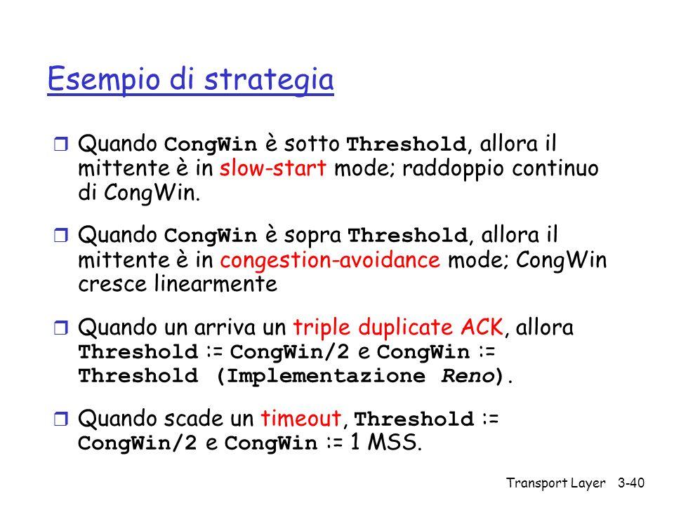 Esempio di strategia Quando CongWin è sotto Threshold, allora il mittente è in slow-start mode; raddoppio continuo di CongWin.