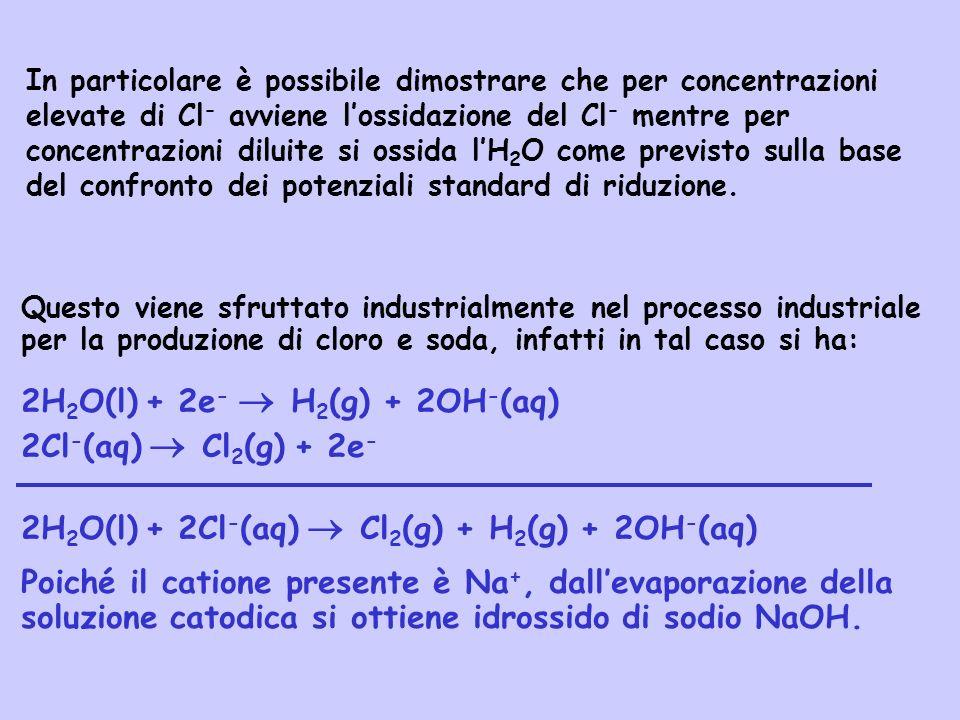 2H2O(l) + 2e-  H2(g) + 2OH-(aq) 2Cl-(aq)  Cl2(g) + 2e-