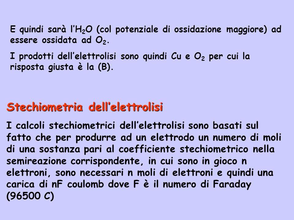 Stechiometria dell'elettrolisi