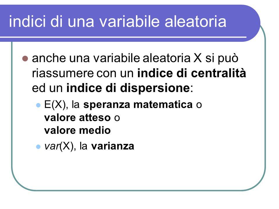 indici di una variabile aleatoria