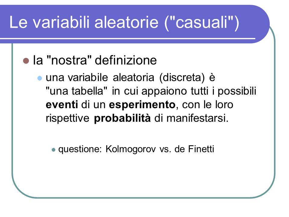 Le variabili aleatorie ( casuali )