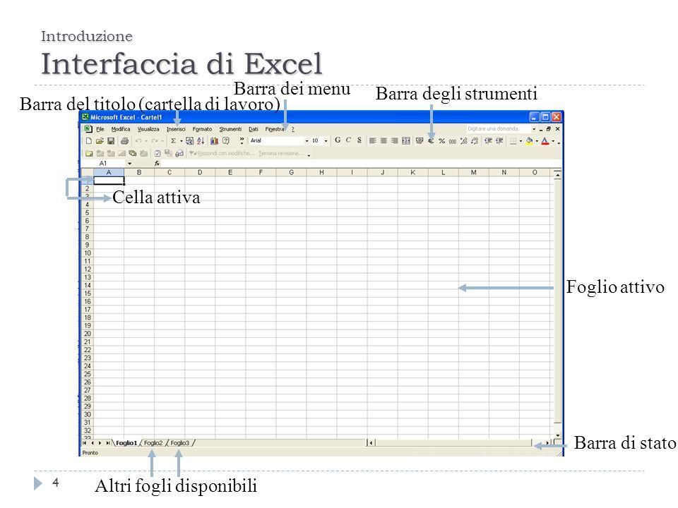Introduzione Interfaccia di Excel