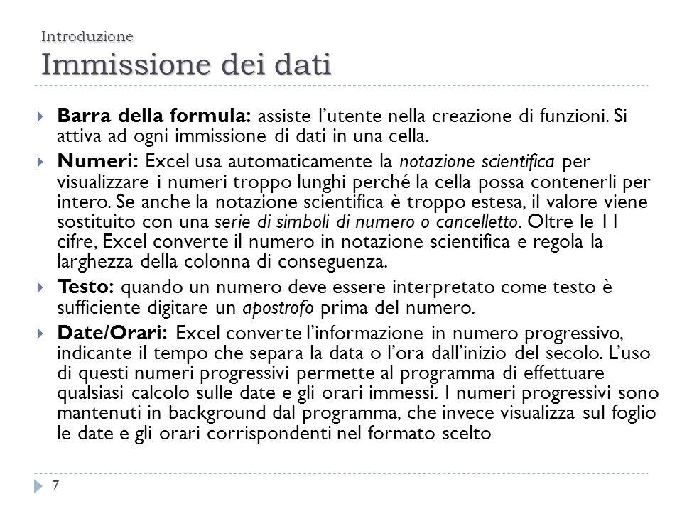 Introduzione Immissione dei dati