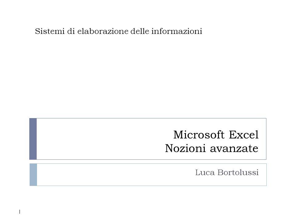 Microsoft Excel Nozioni avanzate
