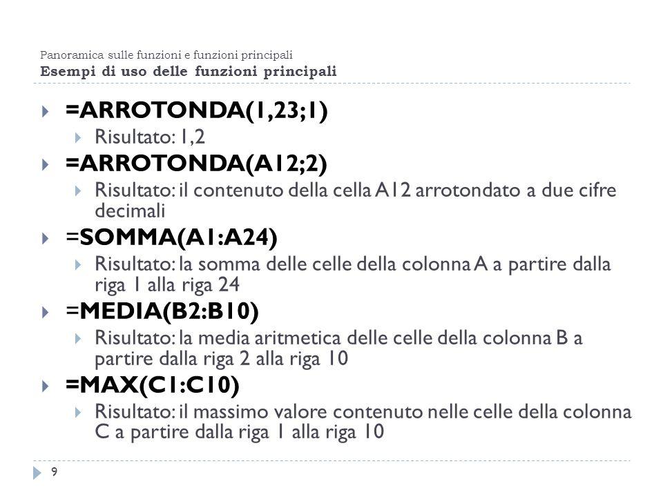 =ARROTONDA(1,23;1) =ARROTONDA(A12;2) =SOMMA(A1:A24) =MEDIA(B2:B10)
