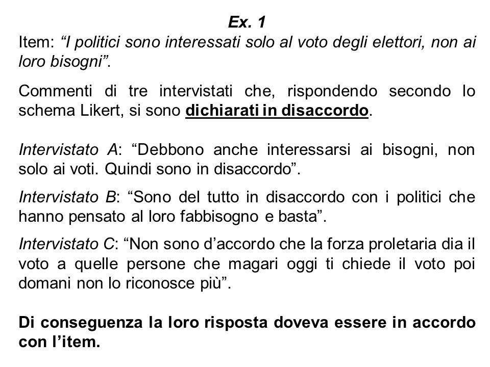 Ex. 1Item: I politici sono interessati solo al voto degli elettori, non ai loro bisogni .