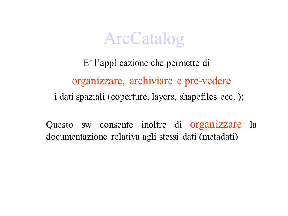 ArcCatalog organizzare, archiviare e pre-vedere