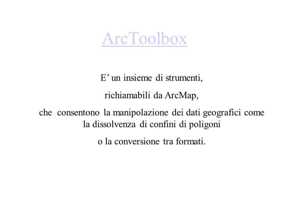 ArcToolbox E' un insieme di strumenti, richiamabili da ArcMap,