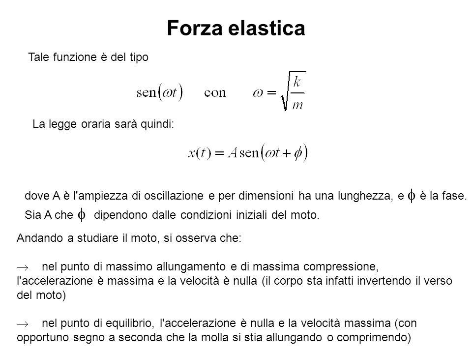 Forza elastica Tale funzione è del tipo La legge oraria sarà quindi: