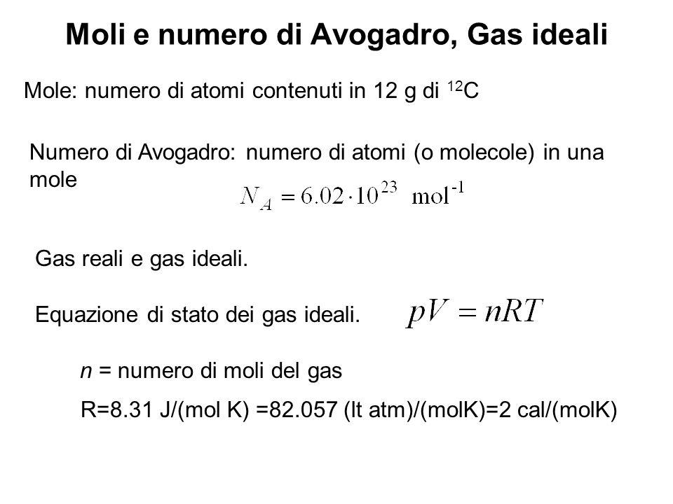 Moli e numero di Avogadro, Gas ideali