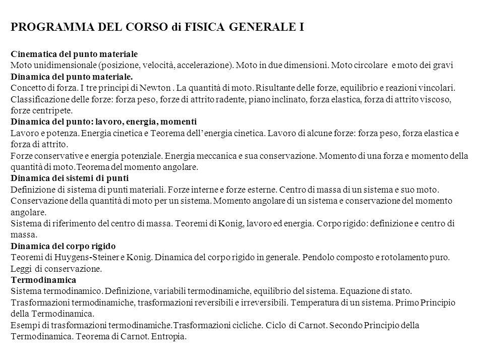 PROGRAMMA DEL CORSO di FISICA GENERALE I Cinematica del punto materiale Moto unidimensionale (posizione, velocità, accelerazione).