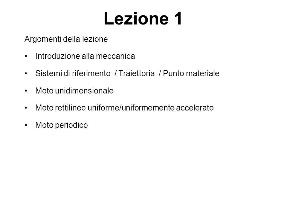 Lezione 1 Argomenti della lezione Introduzione alla meccanica