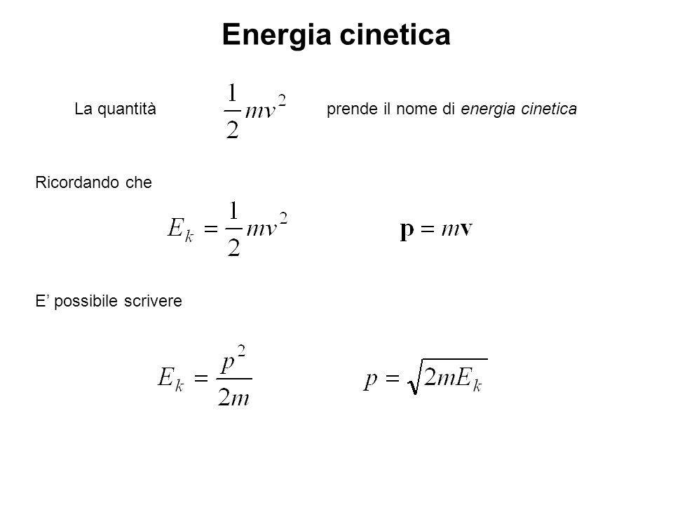 Energia cinetica La quantità prende il nome di energia cinetica