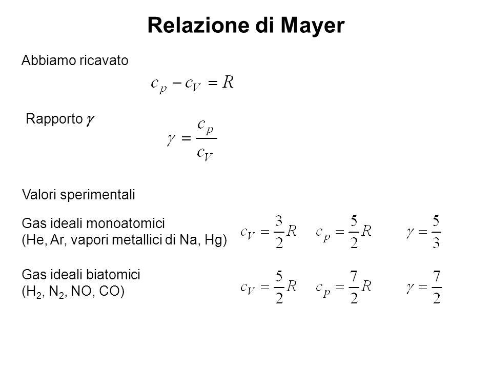 Relazione di Mayer Abbiamo ricavato Rapporto g Valori sperimentali