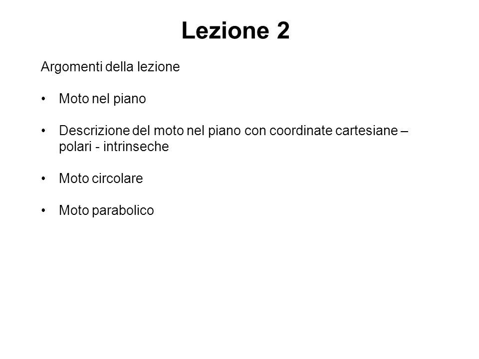 Lezione 2 Argomenti della lezione Moto nel piano