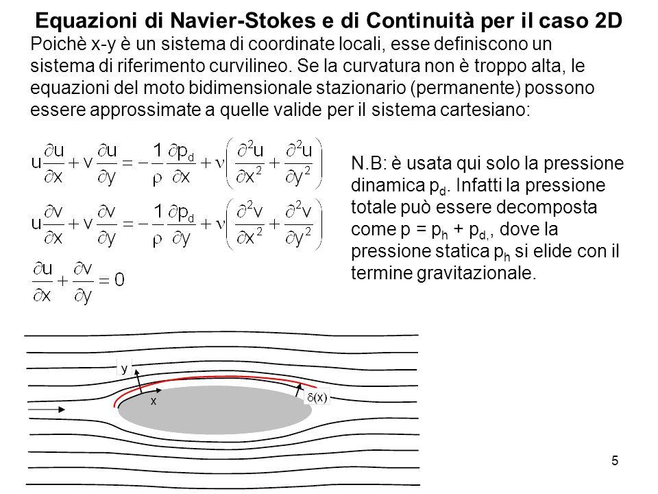Equazioni di Navier-Stokes e di Continuità per il caso 2D