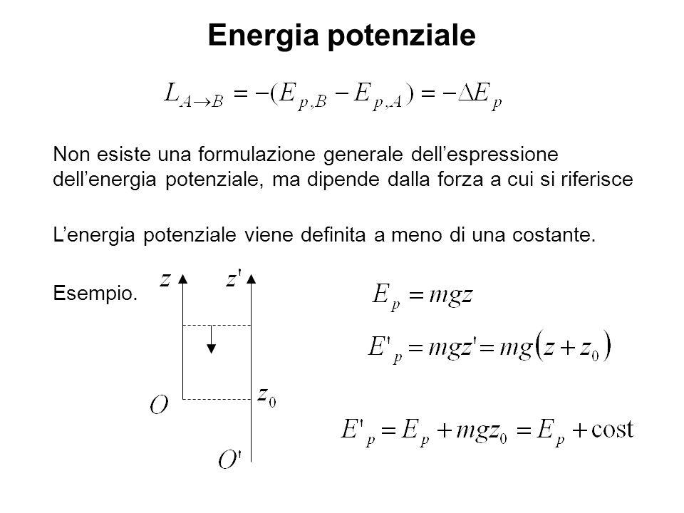 Energia potenziale Non esiste una formulazione generale dell'espressione dell'energia potenziale, ma dipende dalla forza a cui si riferisce.