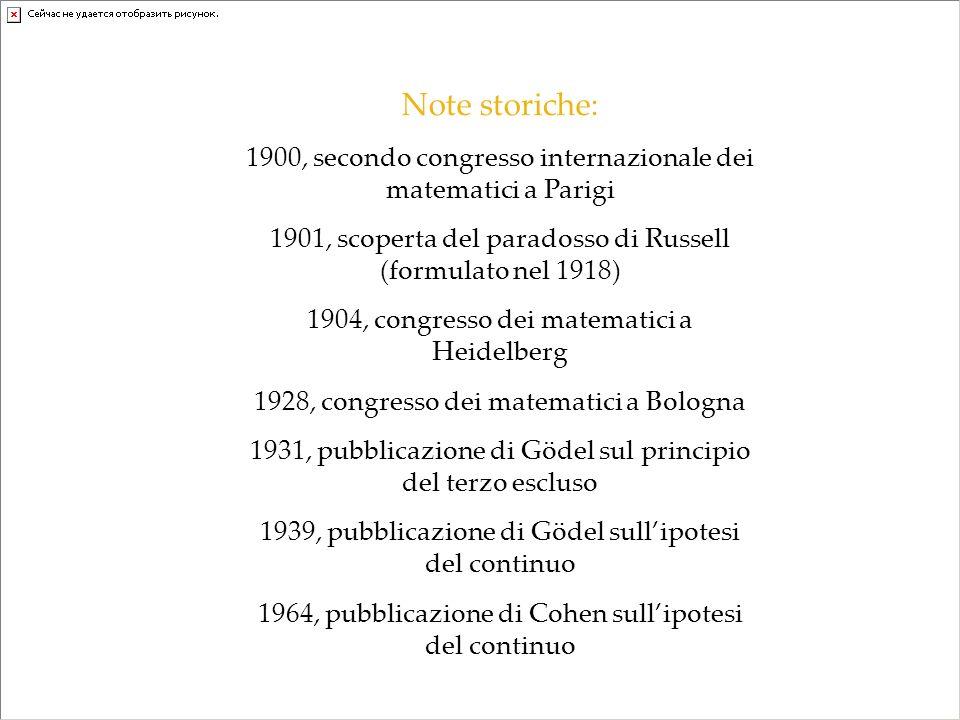 Note storiche: 1900, secondo congresso internazionale dei matematici a Parigi. 1901, scoperta del paradosso di Russell (formulato nel 1918)