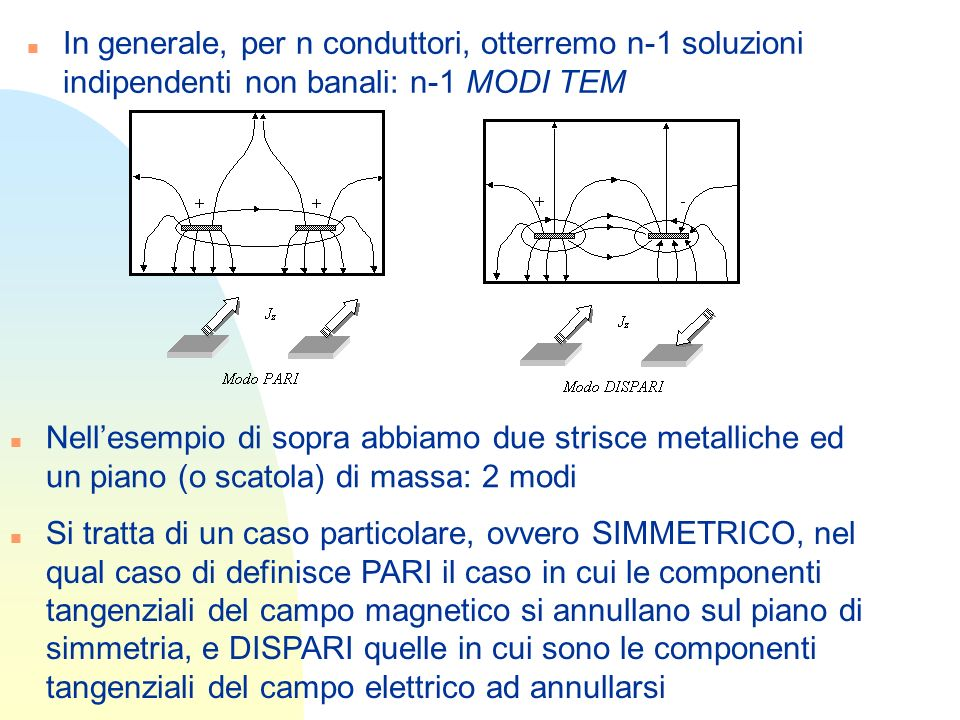 In generale, per n conduttori, otterremo n-1 soluzioni indipendenti non banali: n-1 MODI TEM