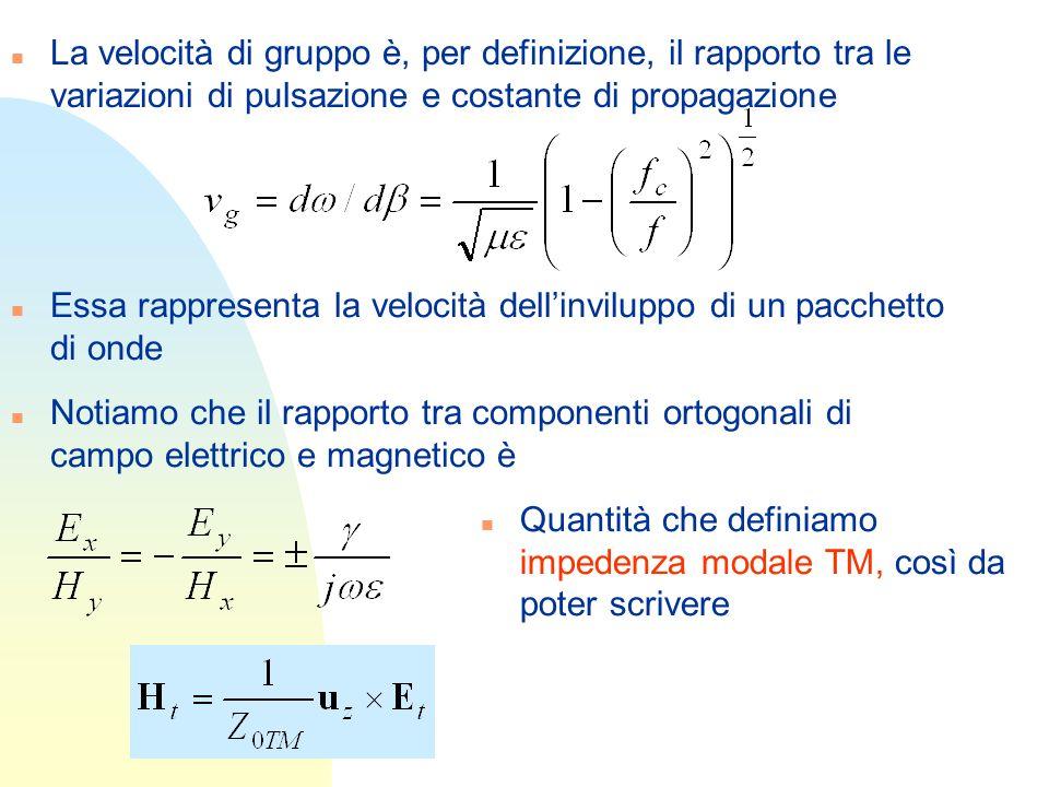La velocità di gruppo è, per definizione, il rapporto tra le variazioni di pulsazione e costante di propagazione