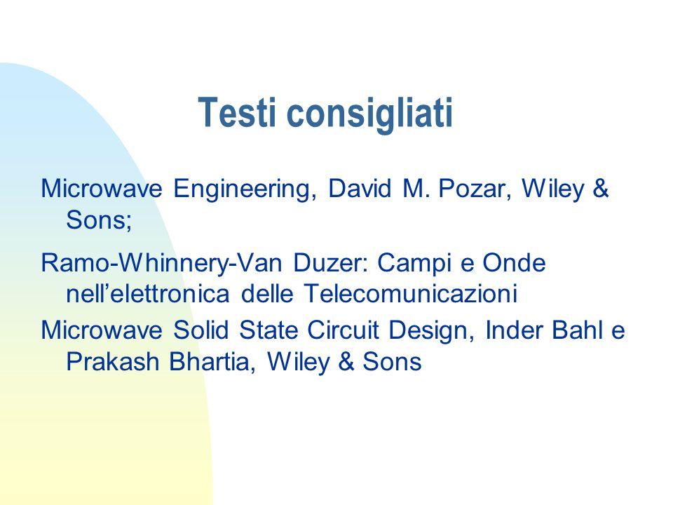 Testi consigliati Microwave Engineering, David M. Pozar, Wiley & Sons;