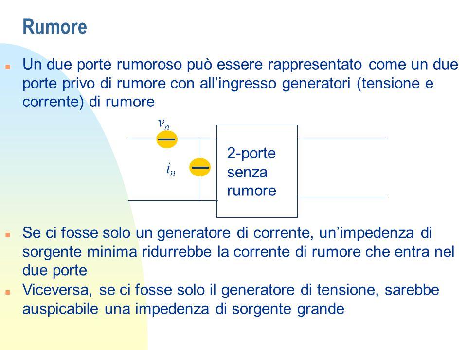 Rumore Un due porte rumoroso può essere rappresentato come un due porte privo di rumore con all'ingresso generatori (tensione e corrente) di rumore.