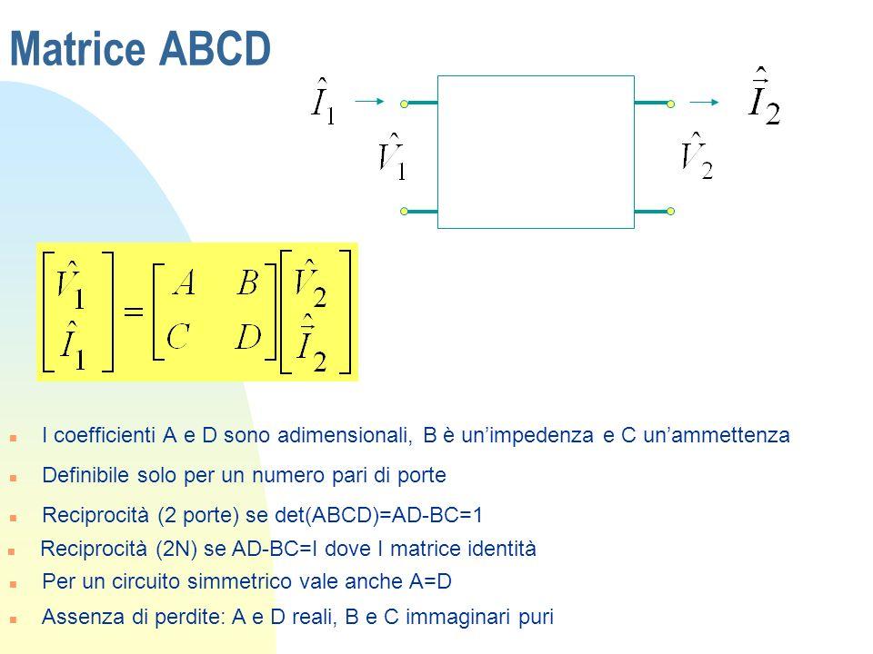 Matrice ABCDI coefficienti A e D sono adimensionali, B è un'impedenza e C un'ammettenza. Definibile solo per un numero pari di porte.