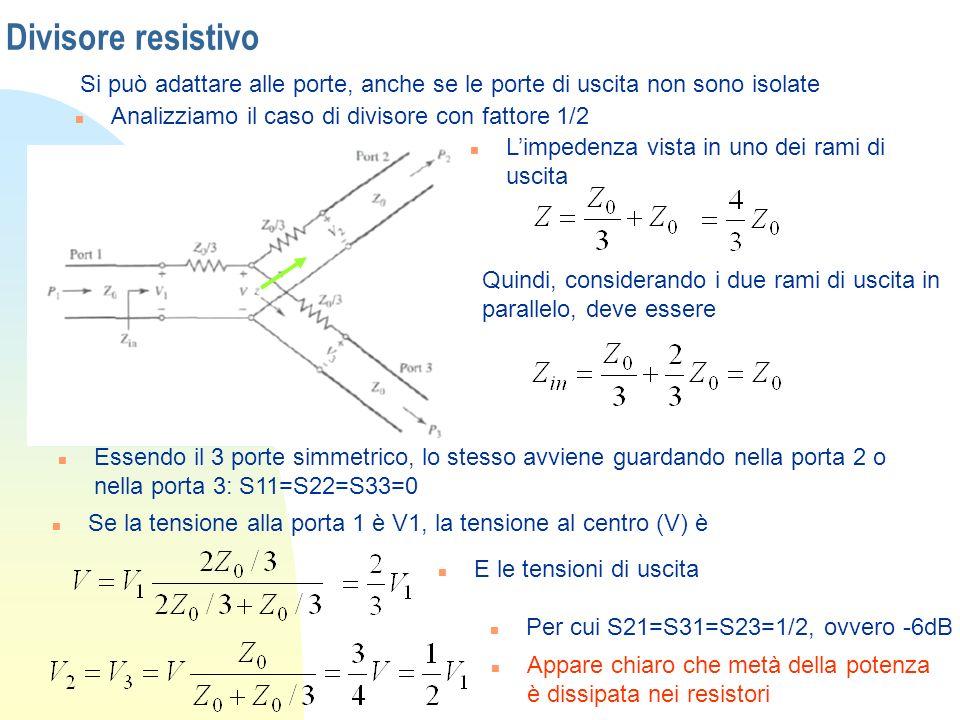 Divisore resistivo Si può adattare alle porte, anche se le porte di uscita non sono isolate. Analizziamo il caso di divisore con fattore 1/2.