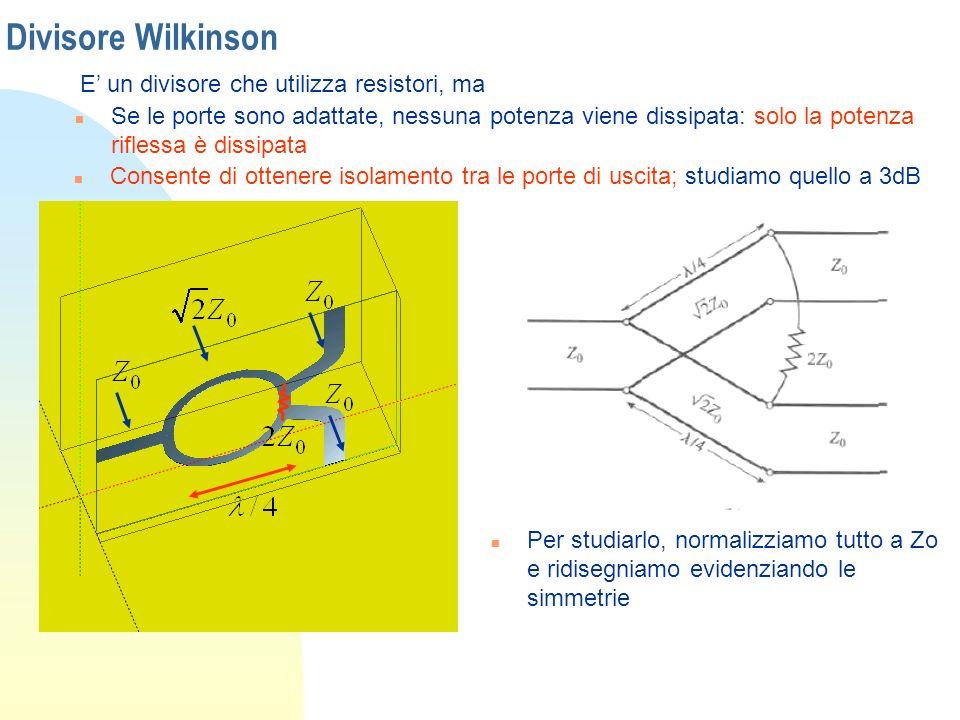 Divisore Wilkinson E' un divisore che utilizza resistori, ma